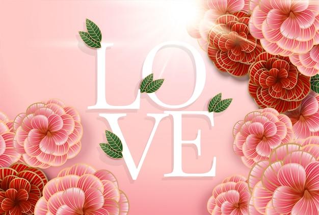 Composizione con scritta love ed elementi floreali astratti. Vettore Premium