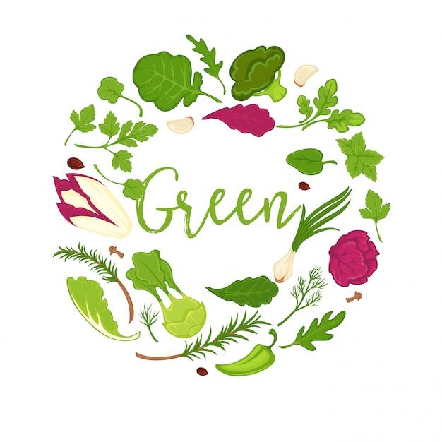 Composizione del cerchio di verdure, insalate e verdure verdi Vettore Premium