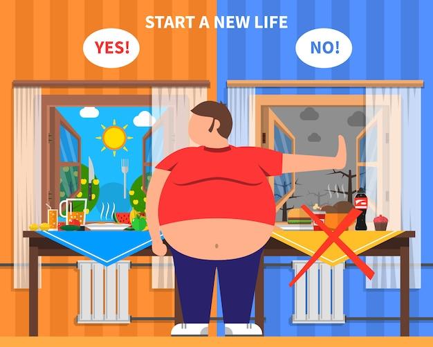 Composizione del design dell'obesità Vettore gratuito