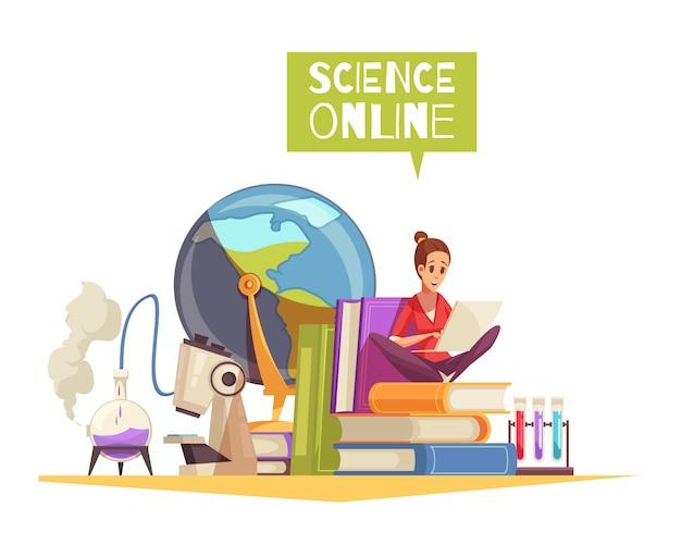 Composizione del fumetto di pubblicità di apprendimento remoto online di qualificazione di laurea universitaria con il computer portatile dei libri di testo dello studente del microscopio Vettore gratuito