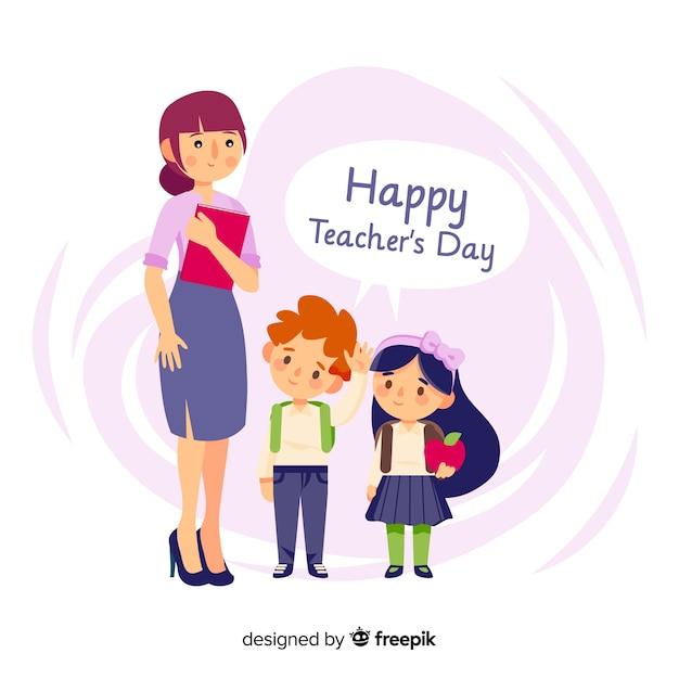 Composizione del giorno degli insegnanti adorabili del mondo con design piatto Vettore gratuito