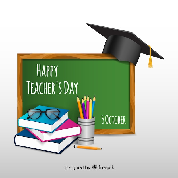 Composizione del giorno degli insegnanti del mondo con un design realistico Vettore gratuito