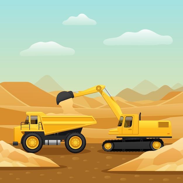 Composizione del macchinario di costruzione Vettore gratuito