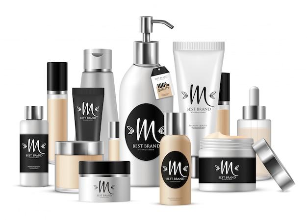 Composizione del modello cosmetico colorato per presentazione aziendale e con etichetta con marchio Vettore gratuito