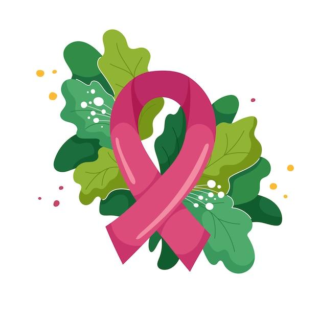 Composizione del nastro rosa e lussureggiante fogliame e fiori in moderno. simbolo del mese di ottobre consapevolezza del cancro al seno. illustrazione su bianco Vettore Premium
