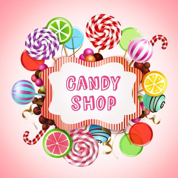 Composizione del negozio di caramelle con realistici prodotti di caramello dolce e lecca lecca con testo nel riquadro Vettore gratuito