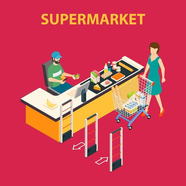 Composizione del supermercato del centro commerciale Vettore gratuito