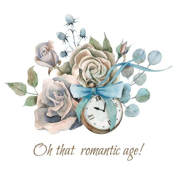 Composizione dell'acquerello dipinto a mano con vecchio orologio vintage, risvolti e fiocco Vettore Premium