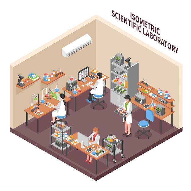 Composizione dell'ambiente del laboratorio di scienze Vettore gratuito