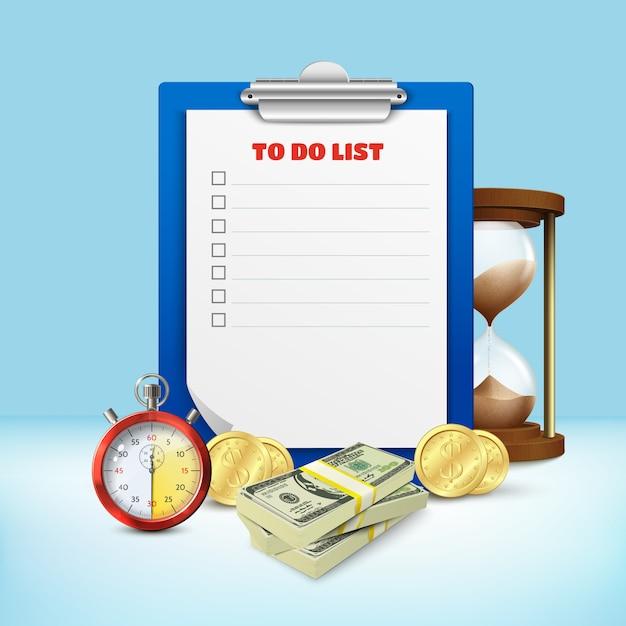 Composizione dell'elenco delle attività Vettore gratuito