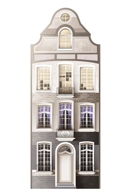 Composizione della facciata della casa classica Vettore Premium