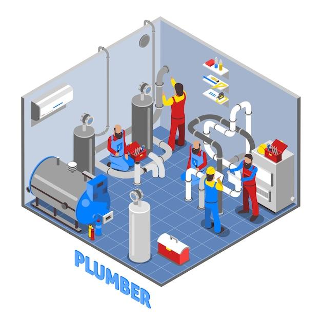 Composizione della gente dell'idraulico 3d Vettore gratuito