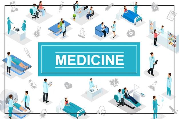 Composizione di assistenza sanitaria isometrica con icone di medicina di ricerca del laboratorio della farmacia di procedure mediche di consultazione medica dei pazienti dei medici Vettore gratuito