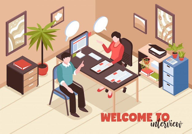 Composizione di assunzione di ricerca di lavoro isometrica con interni di testo e ufficio con hr e candidato di lavoro Vettore gratuito