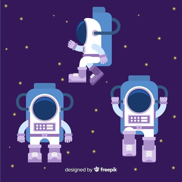 Composizione di astronauta colorato con design piatto Vettore gratuito