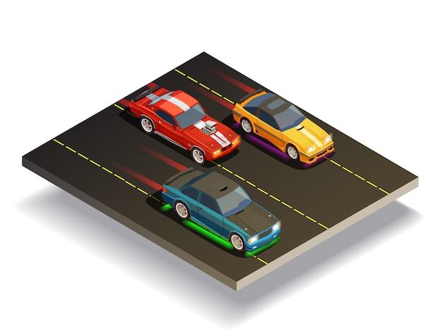 Composizione di auto da pista Vettore gratuito
