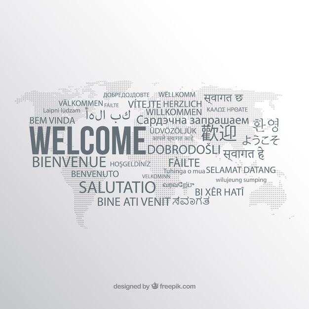 Composizione di benvenuto in diverse lingue Vettore gratuito