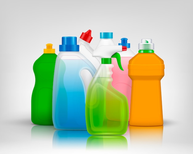 Composizione di bottiglie di colore detergente con immagini realistiche di bottiglie colorate piene di sapone di lavaggio con le ombre Vettore gratuito