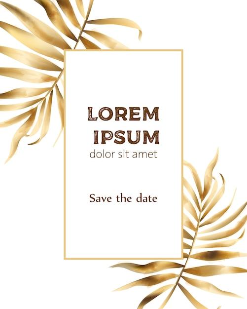 Composizione di carta di invito con foglie d'oro Vettore Premium