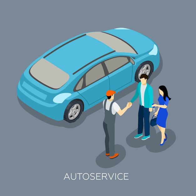 Composizione di clienti del servizio meccanico isometrico auto Vettore gratuito