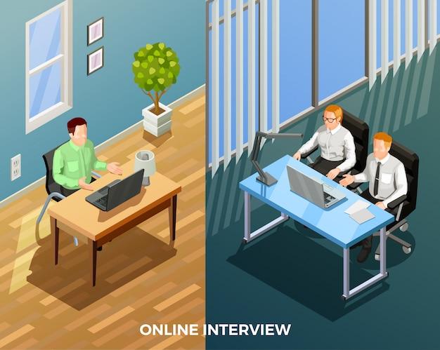 Composizione di colloqui di lavoro online Vettore gratuito