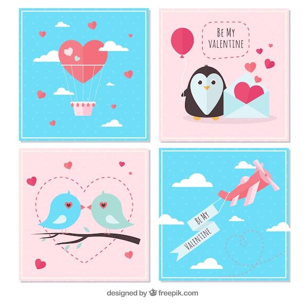 Composizione di compleanno con pinguini felici Vettore gratuito