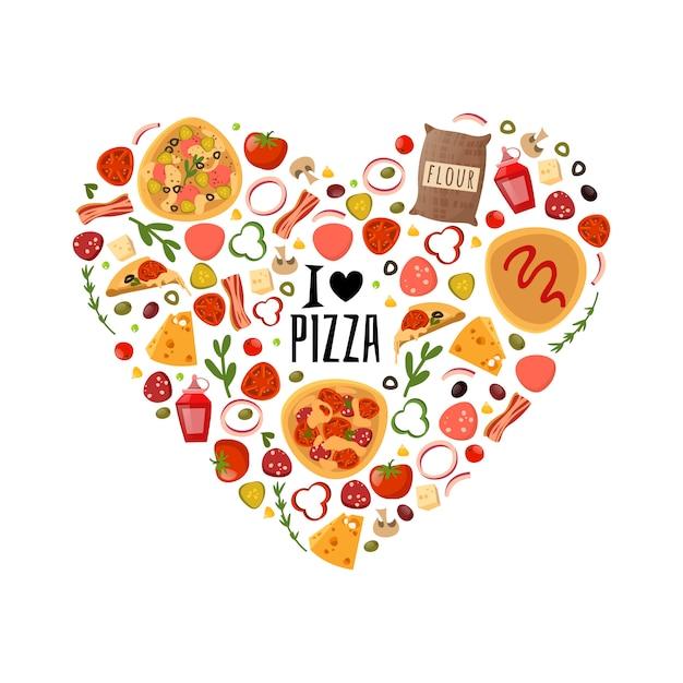 Composizione di cuore di pizza Vettore Premium