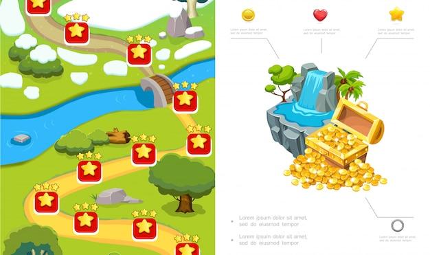 Composizione di design a livello di gioco del fumetto con percorso alberi pietre di fiume cascata scrigno di monete d'oro Vettore gratuito