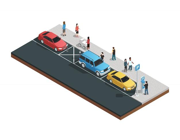 Composizione di distributori automatici con macchine di parcheggio Vettore gratuito