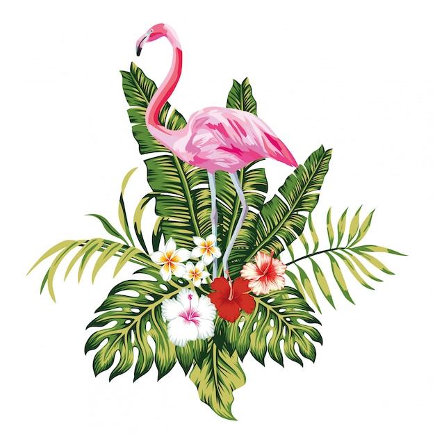 Composizione di foglie e fiori tropicali flamingo rosa Vettore Premium