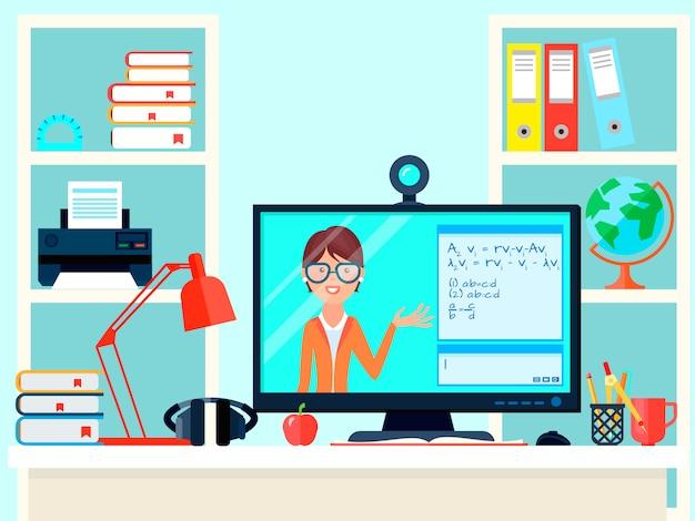 Composizione di formazione degli insegnanti di distanza di e-learning con il luogo di lavoro domestico di videochiamata di insegnamento a distanza con il computer Vettore gratuito