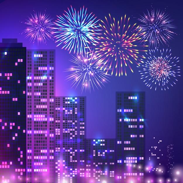 Composizione di fuochi d'artificio di grande città Vettore gratuito