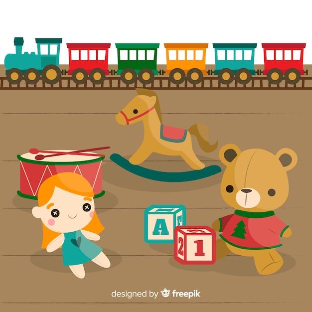 Composizione di giocattoli adorabili con design piatto Vettore gratuito