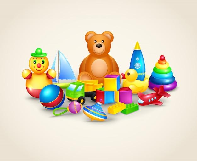 Composizione di giocattoli per bambini Vettore Premium