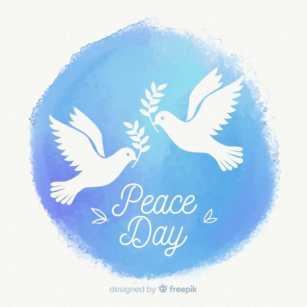 Composizione di giorno di pace dell'acquerello con bella colomba Vettore gratuito