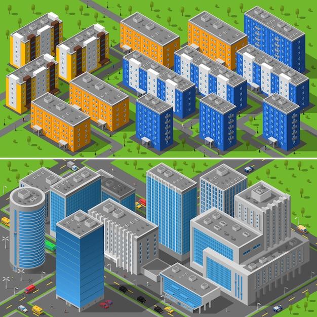 Composizione di isometrica di edifici di città 2 bandiere Vettore gratuito