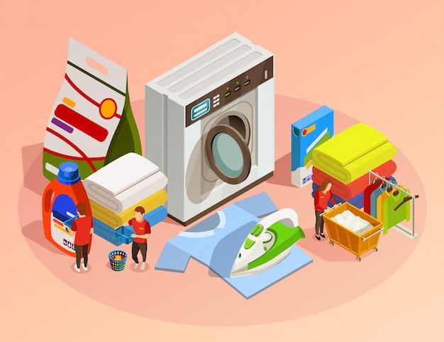 Composizione di lavaggio a secco isometrico lavanderia Vettore gratuito