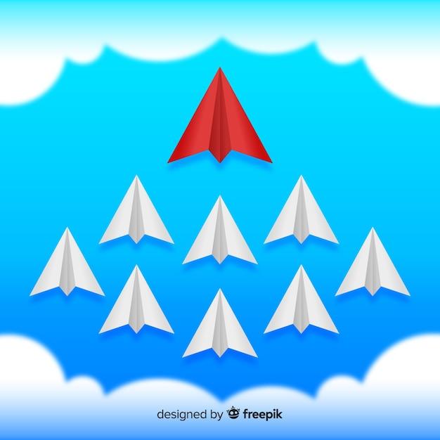 Composizione di leadership originale con aerei di carta Vettore gratuito