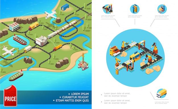 Composizione di logistica globale isometrica con scatole di armi robot operatore di linea di imballaggio di trasporto del treno nave camion camion aereo Vettore Premium
