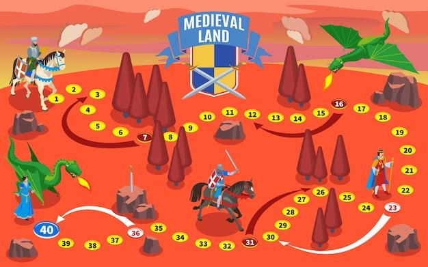 Composizione di mappa del gioco isometrica medievale con cavalieri su cavalli e terra di fantasia con draghi e alberi Vettore gratuito