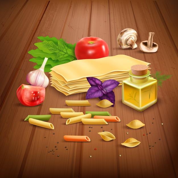 Composizione di pasta secca pasta realistica poster Vettore gratuito