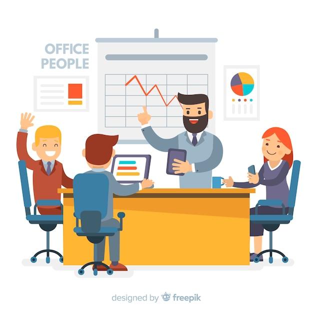 Composizione di persone ufficio moderno con design piatto Vettore gratuito