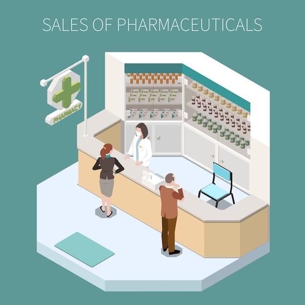 Composizione di produzione farmaceutica isolata con le vendite del titolo dei prodotti farmaceutici e dell'illustrazione d'angolo della farmacia Vettore gratuito