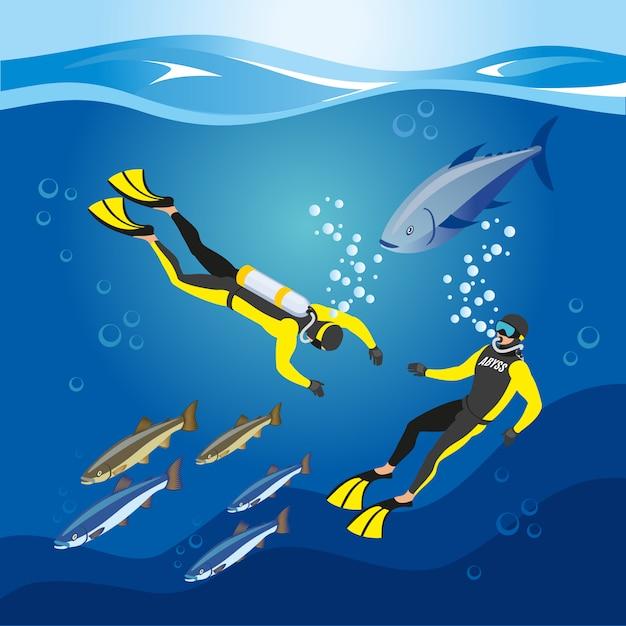 Composizione di ricerca di profondità subacquee Vettore gratuito