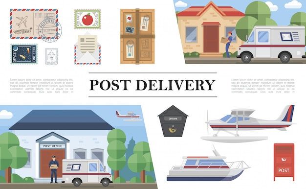 Composizione di servizio postale piatta con furgone galleggiante float yacht francobolli postino pacco busta lettera casella postale corriere postale consegna pacchetto al cliente Vettore gratuito