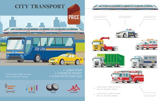 Composizione di trasporto città piatta con auto taxi ambulanza rimorchio camion dei pompieri e di immondizia Vettore gratuito