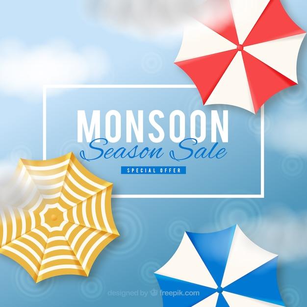 Composizione di vendita di monsone incantevole con un design realistico Vettore gratuito