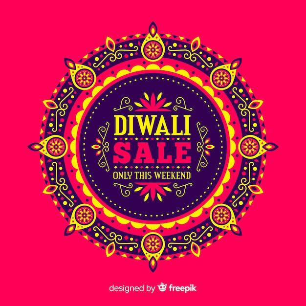 Composizione di vendita moderna diwali con design piatto Vettore gratuito