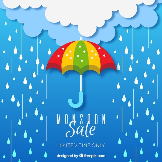 Composizione di vendita stagione dei monsoni con design piatto Vettore gratuito