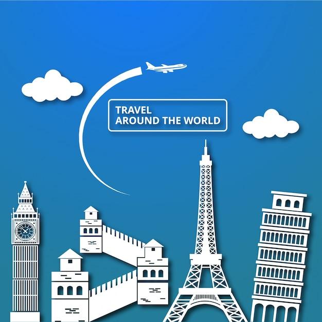 Composizione di viaggio con punti di riferimento famosi nel mondo viaggiare in tutto il mondo Vettore gratuito